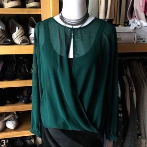 ARK & CO sheer cross-over hunter green blouse